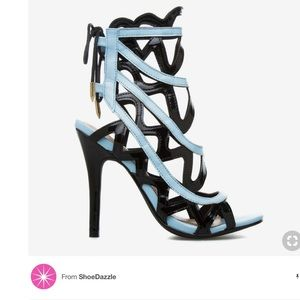 Shoe Dazzle Alonsa black and light blue heels
